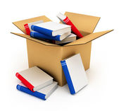 Cardboard box with books — Stock Photo