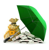 Green umbrella protecting money from rain — 图库照片
