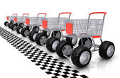 Shopping carts row waiting for start — Stock Photo