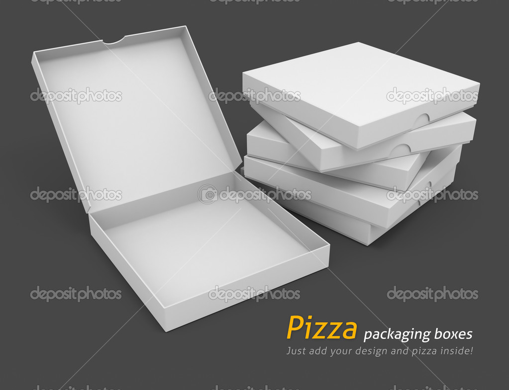 White pizza packaging boxes with blank cover for design 3d illustration isolated on grey background — Stock Photo #5781806