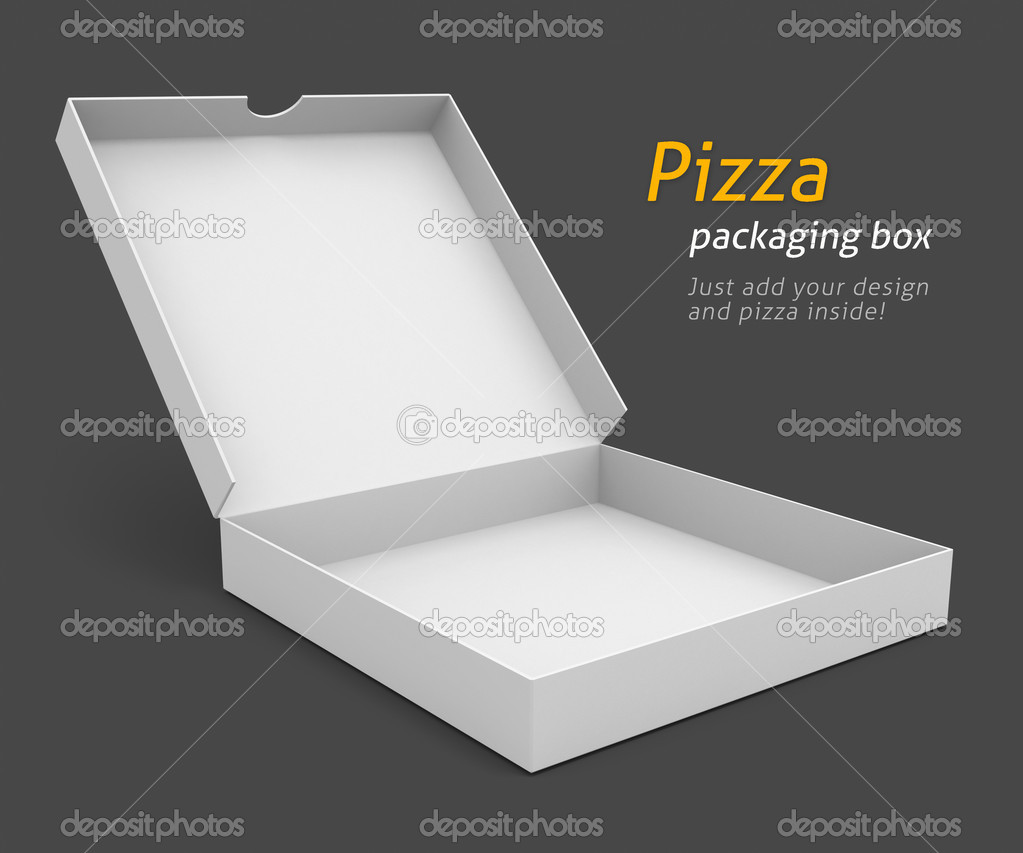 White pizza packaging box with blank cover for design 3d illustration isolated on grey background — Stock Photo #5781811
