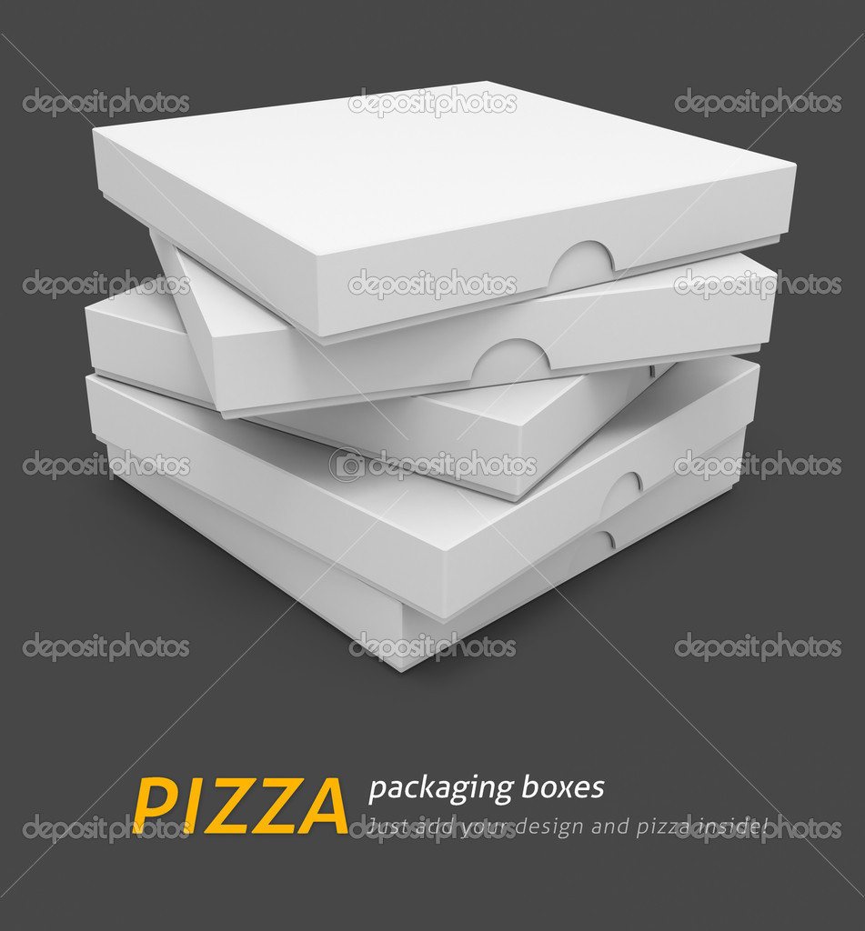 White pizza packaging boxes with blank cover for design 3d illustration isolated on grey background — Foto Stock #5781818