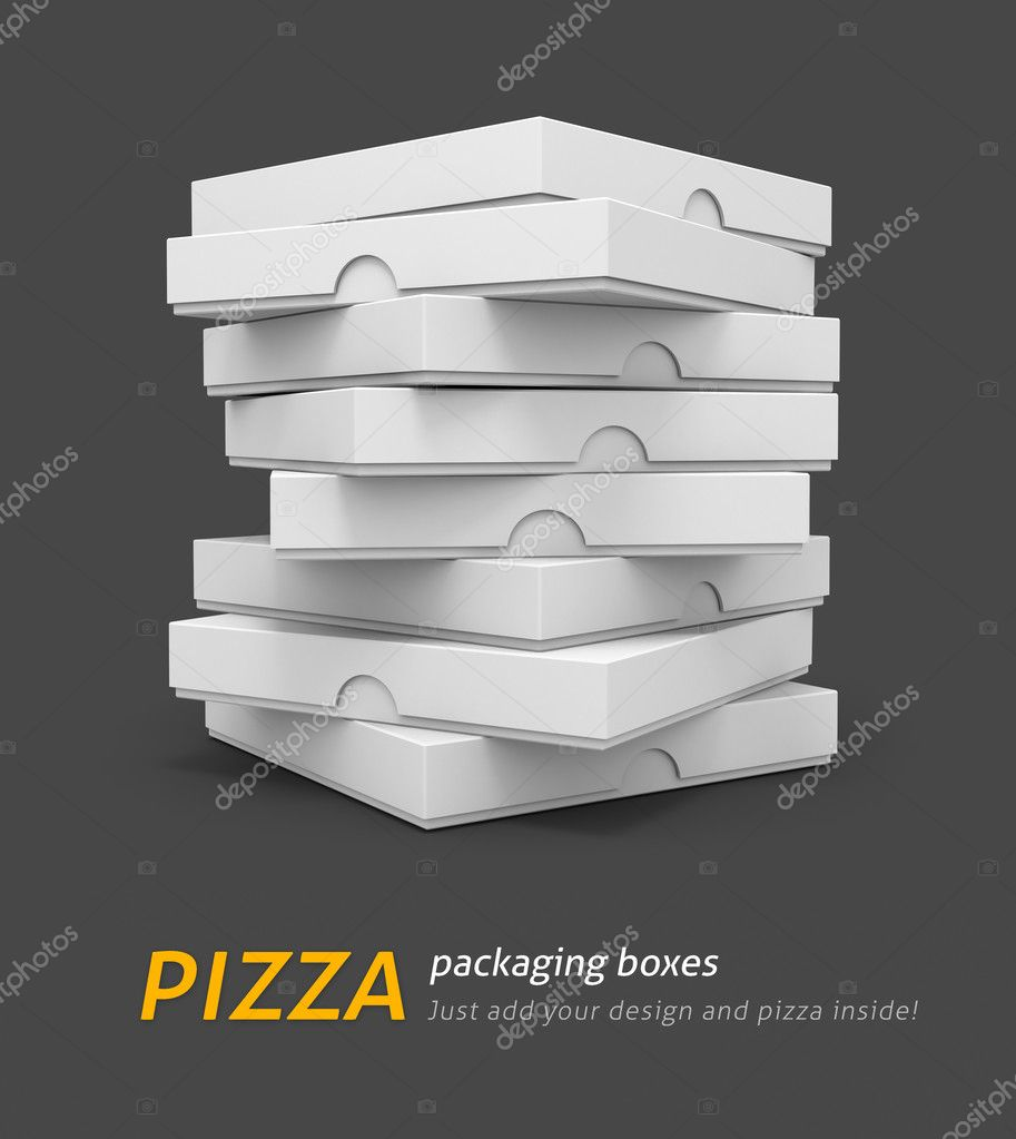 White pizza packaging boxes with blank cover for design 3d illustration isolated on grey background — Stock Photo #5781826