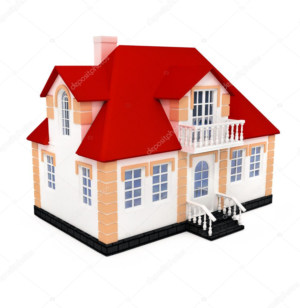 New private house 3d illustration isolated on white background — Stock Photo #5782129