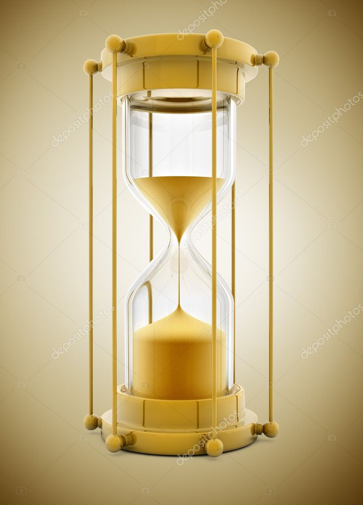 Old gold sand clock measuring time - 3d illustration — Stock Photo #5783706