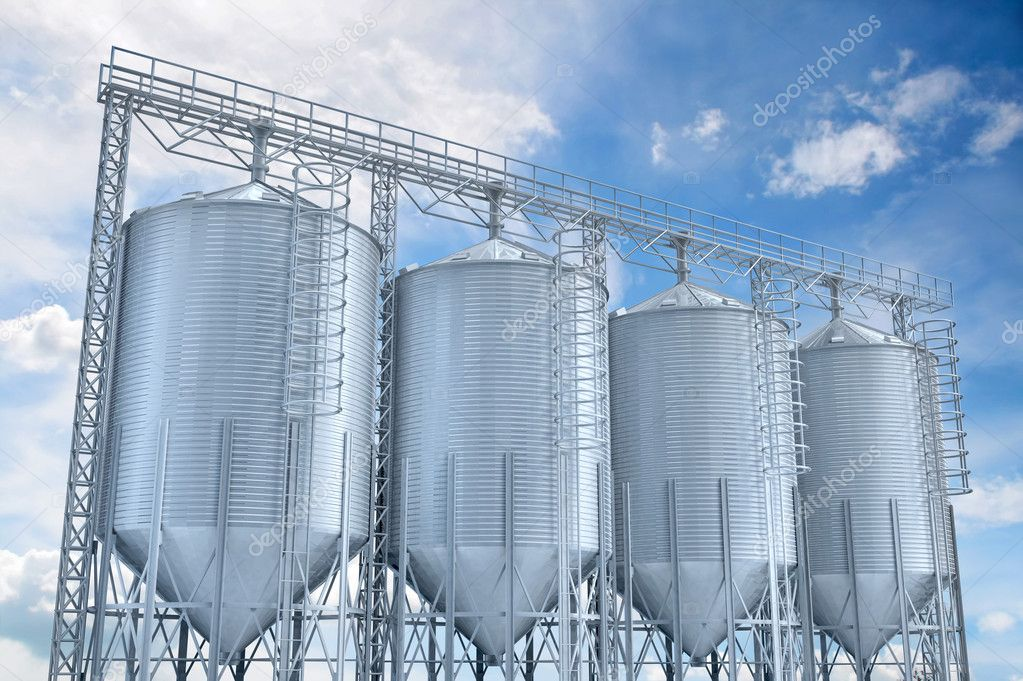 Agricultural elevator building for corn storage 3d illustration. — Stock Photo #5783953