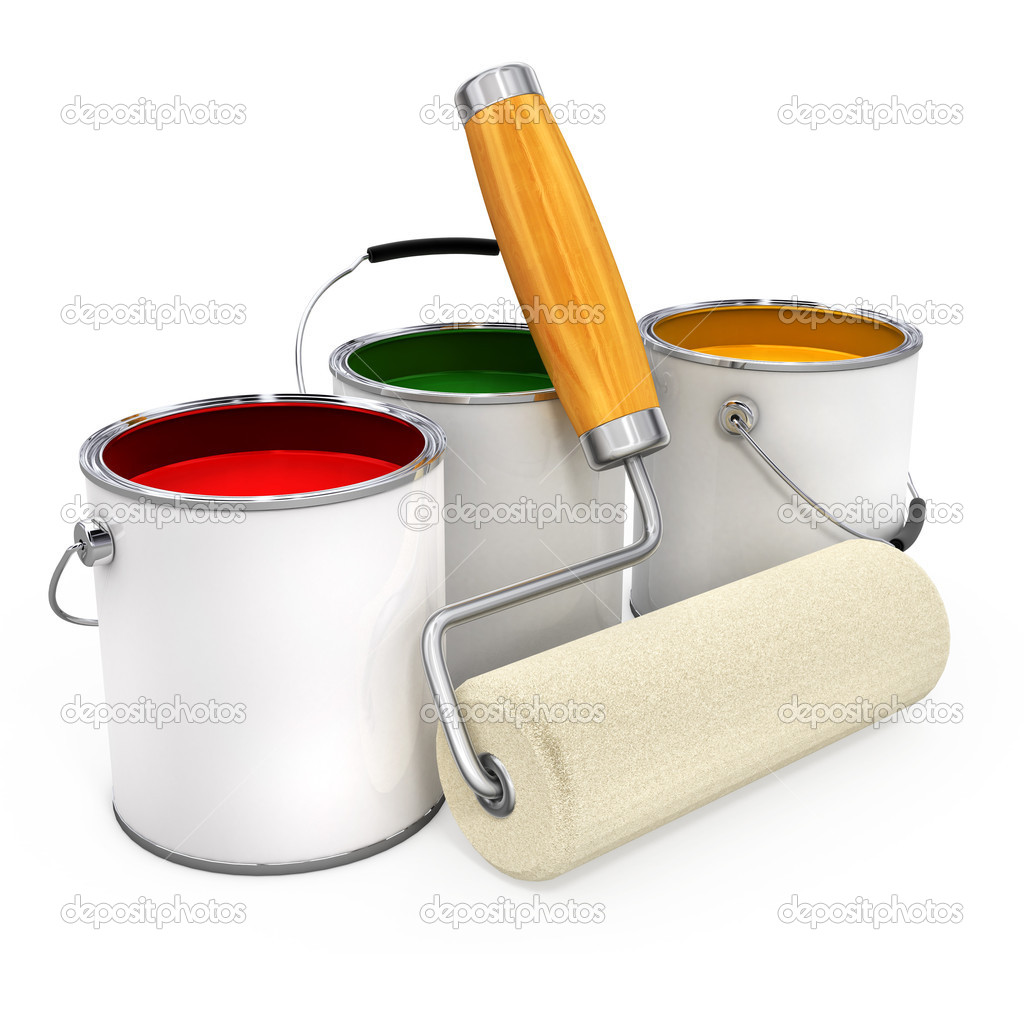 Buckets with paint and new roller for painting isolated 3d illustration — Stock Photo #5784049