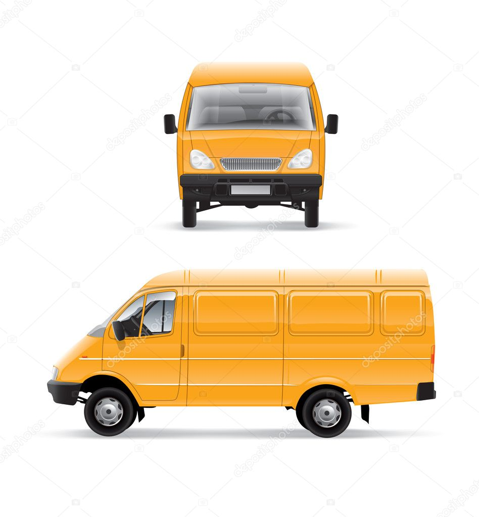 Yellow car furgon vector illustration template over white background — Stock Photo #5785074
