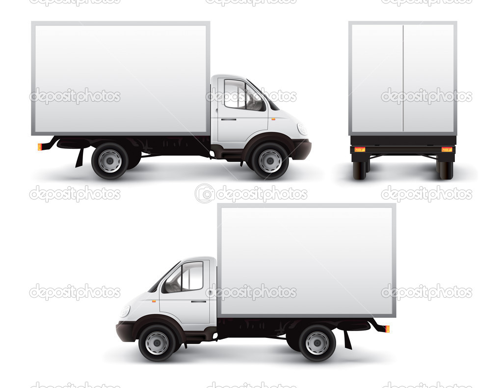White delivery car isolated with vector clipping path included — Stock Photo #5785227