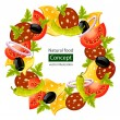 Round wreath of food concept - Stock Vector