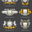 Heraldic vintage emblems set silver and gold - Stok Vektr
