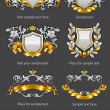Heraldic vintage emblems set silver and gold — Stock Vector