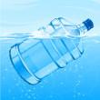 grote fles met helder blauw water drinken zwemmen — Stockvector