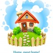 Fairy-tale house on lawn with fence - Stock Vector