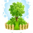 Tree on green lawn with wooden fence - Stock Vector