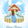 Winter christmas landscape with house in snow - Stock Vector