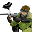 Stock Vector: Vector paintball game player shooting
