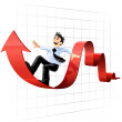 Businessman surfing on the chart line — Stock Vector