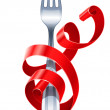 Royalty-Free Stock Vector Image: Table fork braided by red ribbon