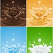 Set of various splash drink liquids — Stock Vector