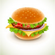 Hamburger with cheese - Stock Vector