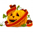 Vector halloween pumpkin vegetable fruit isolated — Vector de stock #5782358