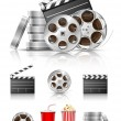 Set of objects for cinematography — Vector de stock