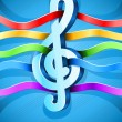 Treble clef musical symbol with ribbons — Stockvectorbeeld