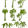 Set of palm tree silhouettes - Stok Vektör