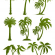 sada palm tree siluety — Stock vektor