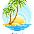 Tropical palm with sea wave on sunny background - Векторная иллюстрация