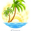 Royalty-Free Stock Vectorielle: Tropical palm with sea wave on sunny background