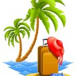 Ladies travel suitcase on tropical beach - Stock Vector