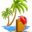 Ladies travel suitcase on tropical beach — Stock Vector