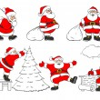 Set of cheerful christmas Santa Clauses in different poses — Stock Vector
