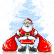 Santa Claus with two sacks of Christmas gifts - Stock Vector