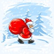 Royalty-Free Stock Vector Image: Merry Christmas Santa Claus walking in snow