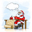 Santa Claus writing Christmas greeting letter — Stock Vector
