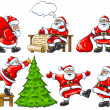 Set of Santa Clauses in differet situations — Stock Vector