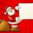 Santa Claus with sack and blank Christmas greeting paper - Stok Vektör