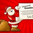 Santa Claus with sack and Christmas greeting paper — Stock Vector