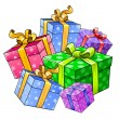 Vector holiday gift presents isolated — Stock Vector