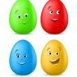 Funny coloured easter eggs with happy faces — Stock Vector