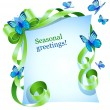 Royalty-Free Stock Vektorgrafik: Greeting card with green bow and blue butterfly