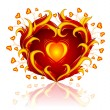 Stock Vector: Love heart burning in blaze