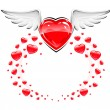 Red love heart with white wings flying - Imagens vectoriais em stock