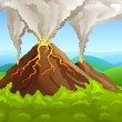 Fuming volcano among green forest — Stock Vector