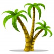 Vector tropical palm trees isolated on white — Stock Vector