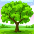 Royalty-Free Stock Vector Image: Summer landscape with old tree and sky vector illustration
