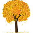 Vector silhouette of autumn season yellow tree — Stock Vector